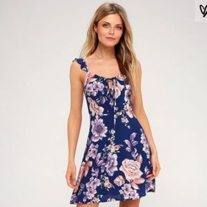 NWT JOA Cobalt Floral Dress